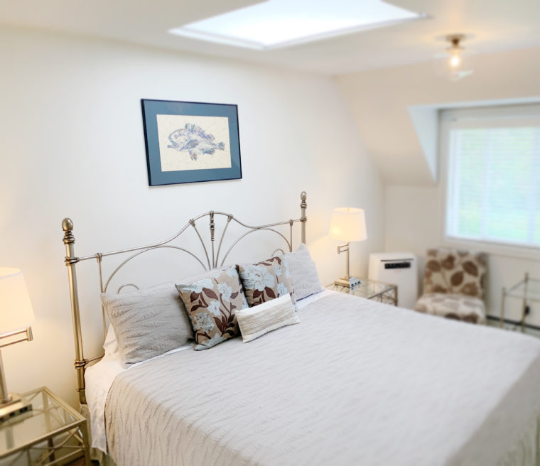 Bluebird Room with king-sized bed and skylight above