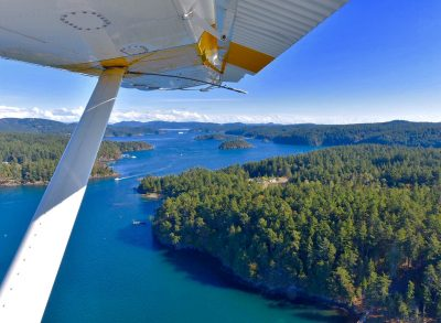 view from sea plane of water, trees and mountains