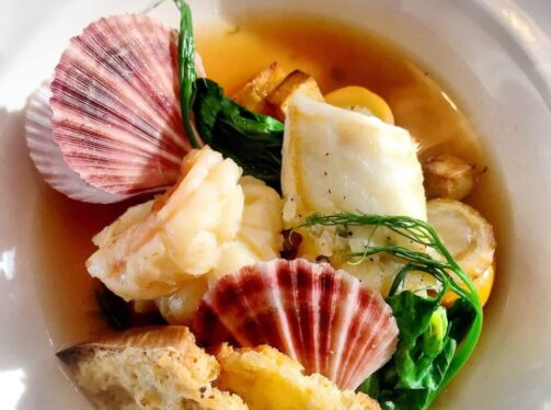 Seafood in white bowl